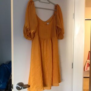 Brand new off shoulder Anthropologie yellow dress